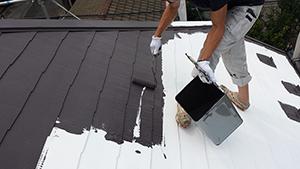 2013年6月18日 稲城市にてキルコート屋根塗装上塗り