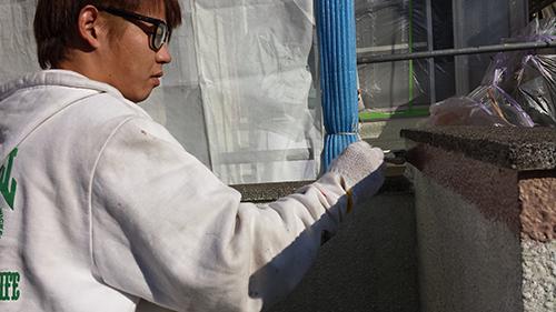 2013年12月5日 栄区鍛冶ヶ谷:門塀下塗り