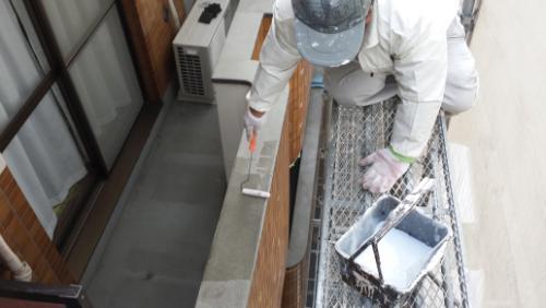 2014年1月23日 港北区ホルツハイム:手すり下塗り