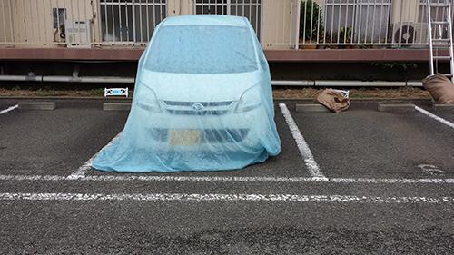 2013年8月26日 横浜市保土ヶ谷区にて鉄部塗装:車養生