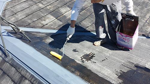 2013年9月27日 横浜市港北区の外壁塗装:屋根下塗り1回目