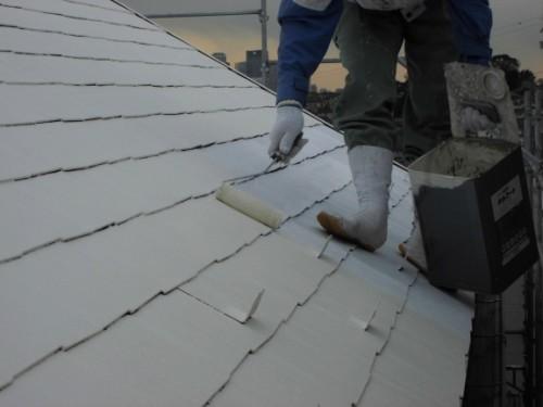 2014年1月18日 神奈川区白幡向町:屋根中塗り2回目