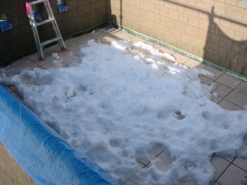 2014年2月17日 戸塚区南舞岡:ベランダの積雪2