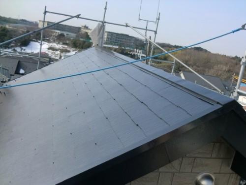 2014年2月21日 戸塚区南舞岡:屋根上塗り完了2