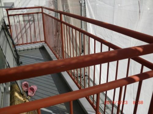 横浜市神奈川区:鉄部手すりサビ止め塗布
