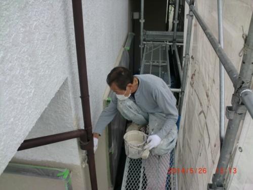 横浜市保土ヶ谷:モルタル外壁中塗り