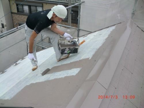 横浜市戸塚区:屋根中塗り中