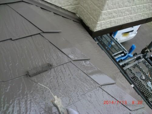 横浜市戸塚区:下屋根上塗り