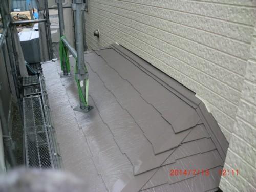 横浜市戸塚区:下屋根上塗り後