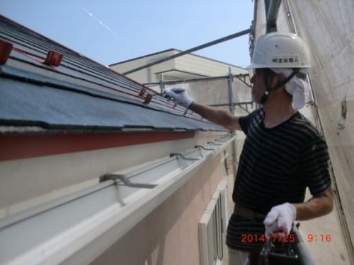 川崎市多摩区:屋根中塗りダメ込み