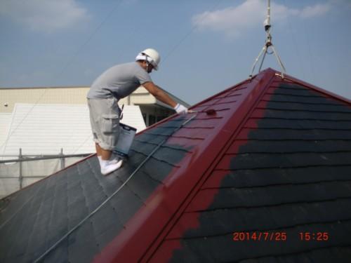 川崎市多摩区:屋根中塗り