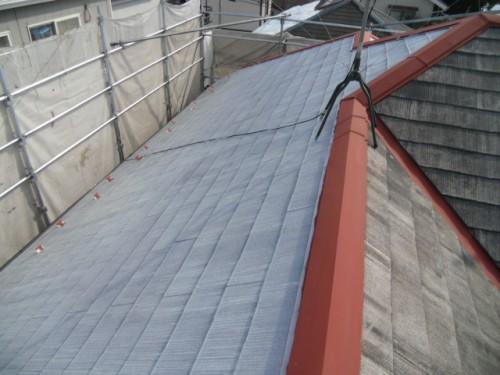 2014年2月19日 青葉区梅が丘:屋根下塗り完了