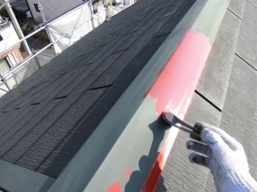 2014年2月25日 川崎市多摩区:屋根鉄部サビ止め塗布