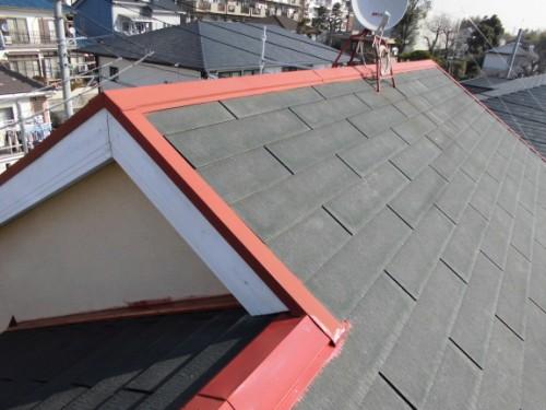 2014年2月25日 川崎市多摩区:屋根鉄部サビ止め塗布後