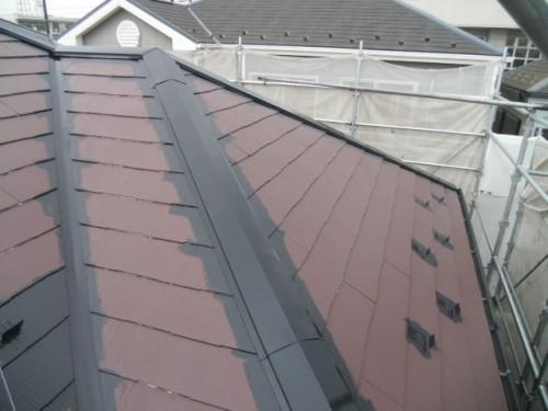 2014年2月23日 青葉区梅が丘:屋根上塗り