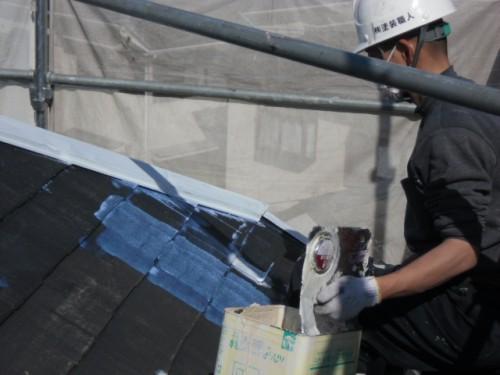 旭区鶴ヶ峰本町:屋根下塗りシーラー塗布