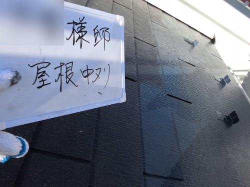 2014年3月22日 栄区公田町:屋根中塗り中