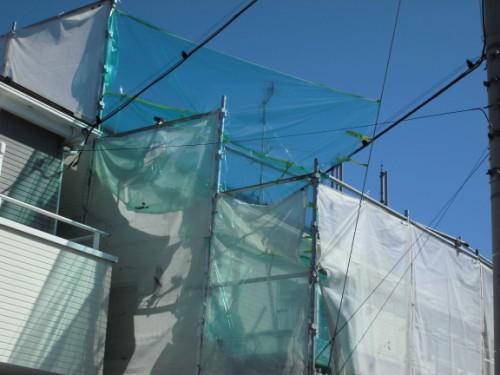 2014年3月22日 栄区公田町:屋根の養生