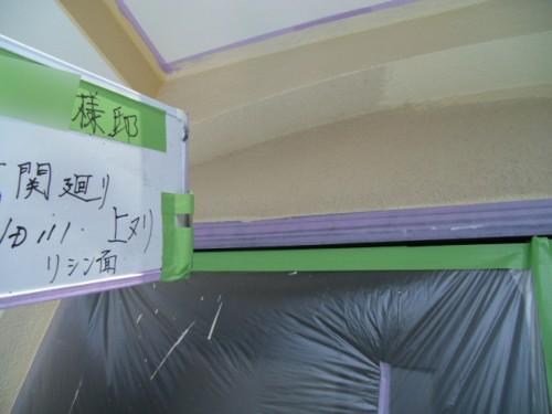 横浜市旭区:玄関周り外壁上塗り