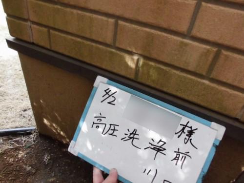 川崎市宮前区:洗浄前外壁のコケ