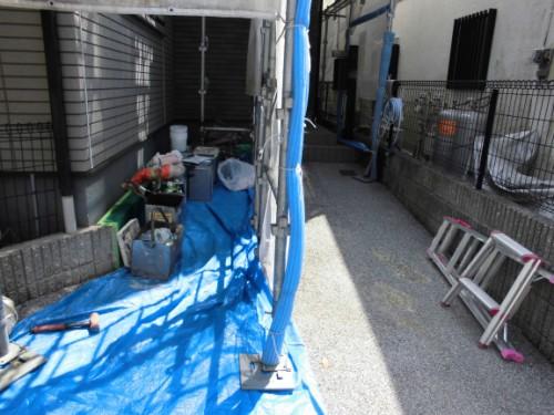 横浜市保土ヶ谷区:玄関前床養生