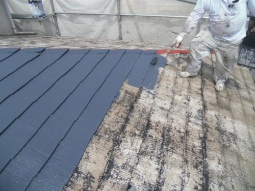 横浜市磯子区:屋根中塗り