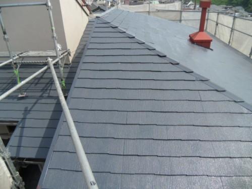 横浜市磯子区:屋根中塗り後