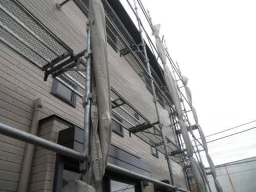 横浜市金沢区:束ねたメッシュシート