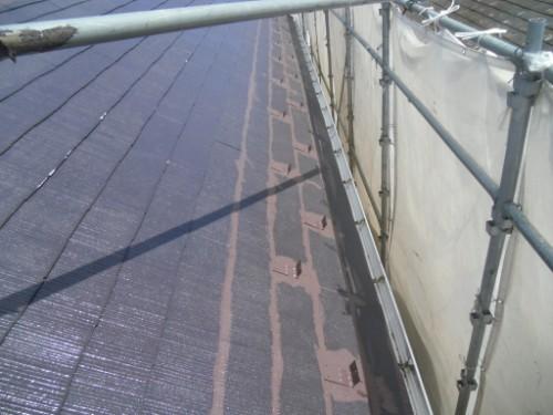 逗子市桜山:屋根中塗りダメ込み2