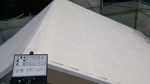 町田市本町田:屋根中塗り1回目完了