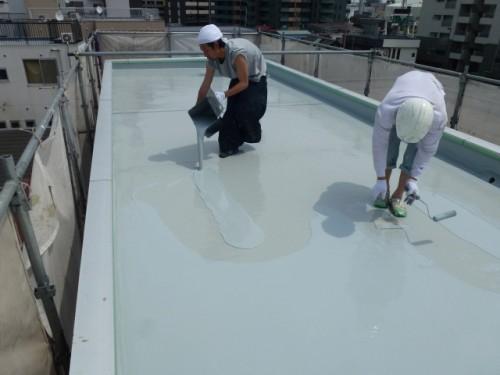 2014年4月16日 神奈川区:屋上ウレタン防水2層目3