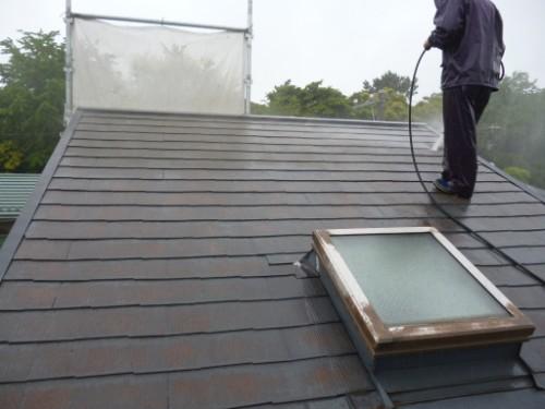 東京都大田区:屋根高圧洗浄2