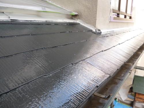 東京都大田区:遮熱塗料で下屋根中塗り後
