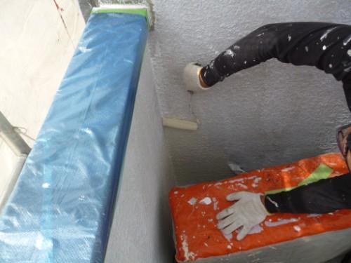 東京都大田区:モルタル外壁中塗り