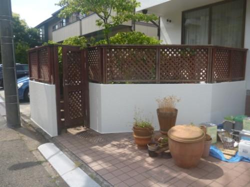 東京都大田区:塗装完了後の門塀