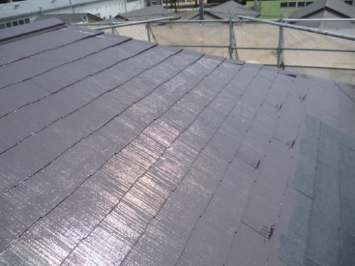 相模原市中央区:屋根上塗り途中