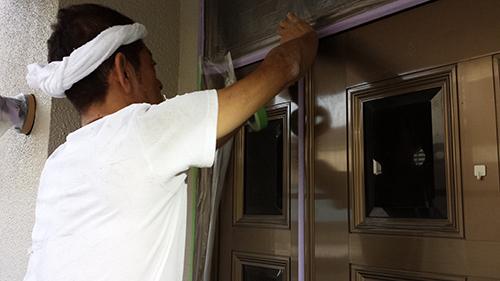 2013年7月2日 川崎市中原区にて外壁塗装・玄関養生