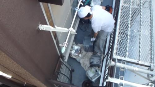 2014年4月15日 神奈川区:ウレタン防水の材料準備