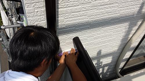 2013年6月29日 稲城市にて線出しテープ養生