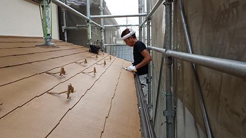 2013年7月13日 川崎市中原区にて外壁塗装・下屋根縁切り