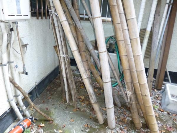 外壁に建てかけてある数本の竹