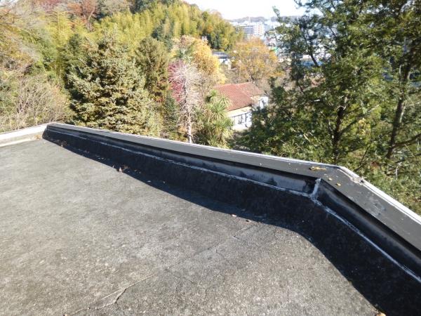 屋上です伸縮目地から波状したクラックも目立ちます