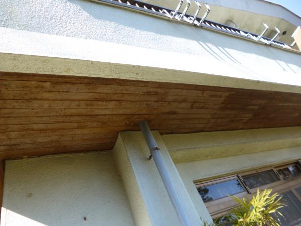 2階ベランダ上げ裏の木部の板