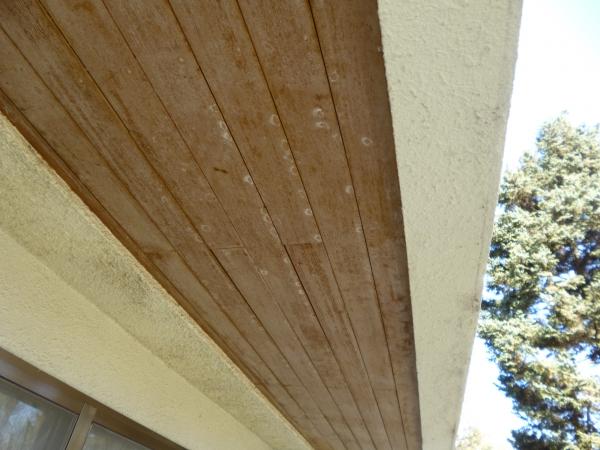 色あせてしまった木目調の軒天井