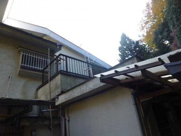 裏山の方角から見た外壁がカビだられの北側。