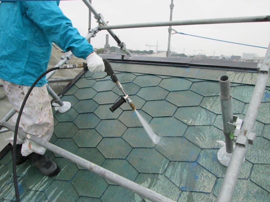 屋根高圧ジェット洗浄