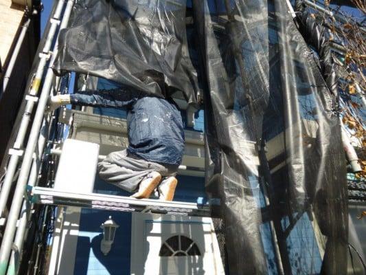 横浜市神奈川区での外壁塗装、塗装完了済を目視で確認