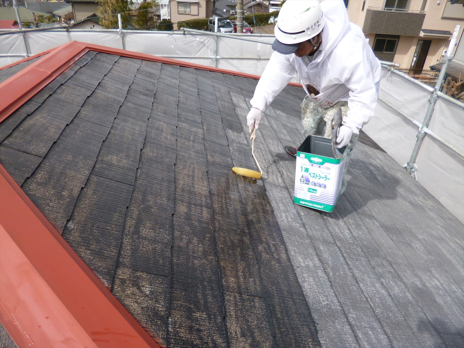 スレート屋根シーラー塗装