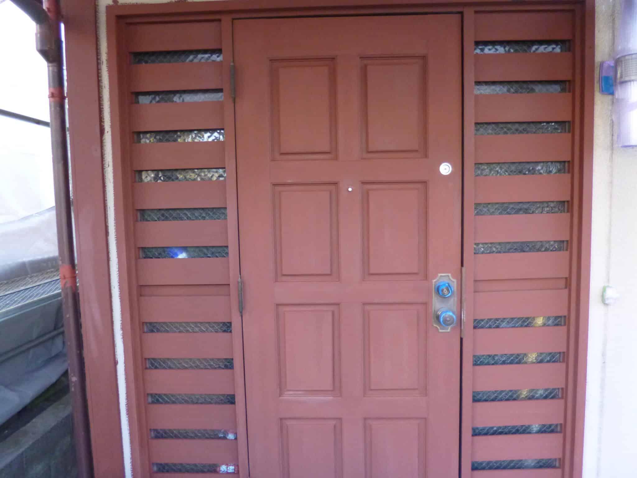 木製玄関ドア下塗り