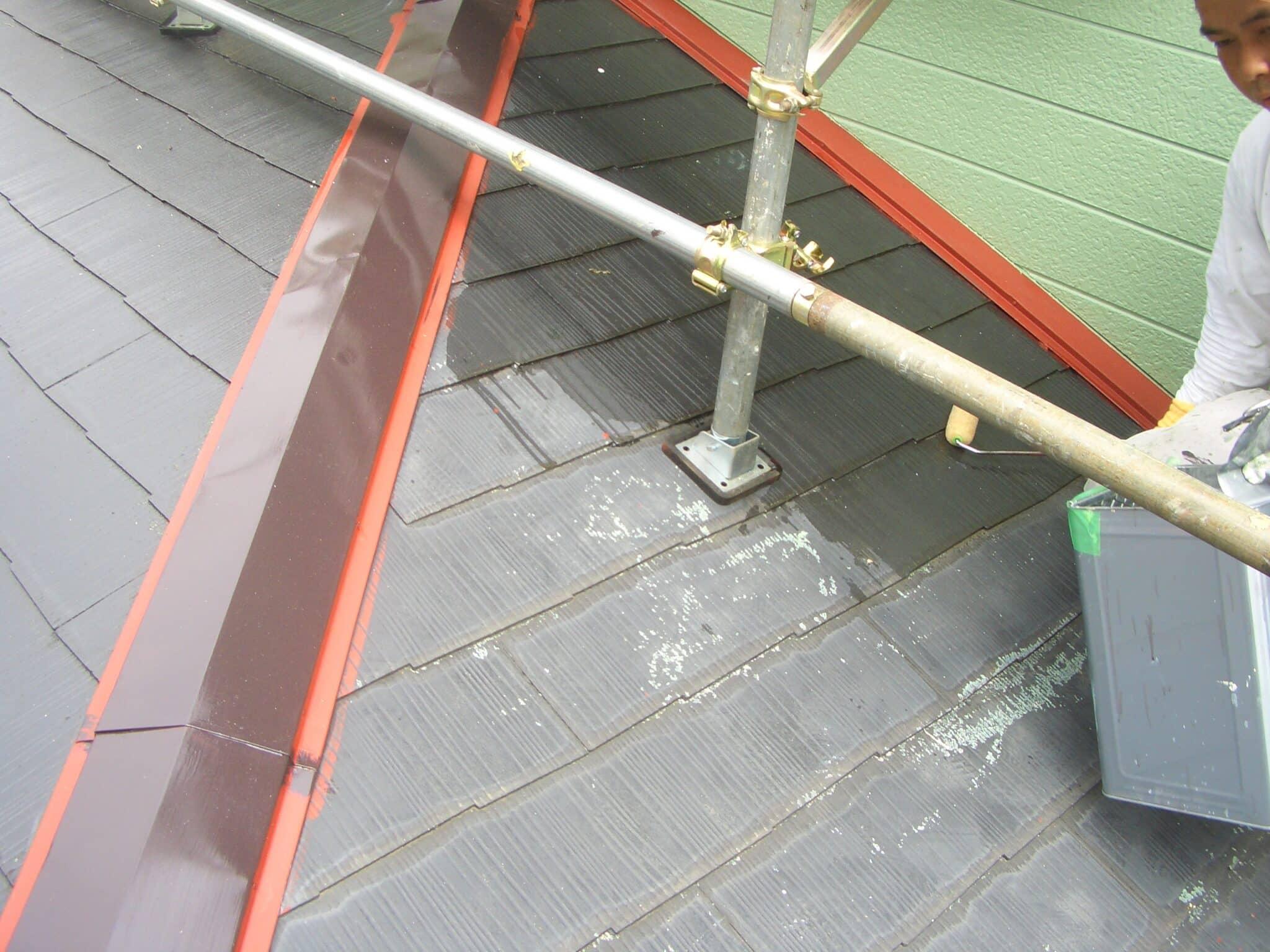 下屋根の錆止め